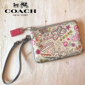 Coach Graffiti Butterfly Poppy Silver Wristlet